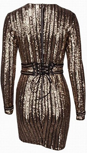 Paillettes Domple Des Femmes Sequin Lacer Robe Mini-club De Bandage Moulante Or
