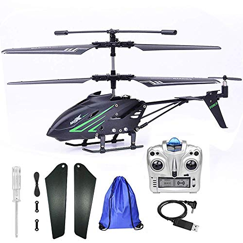 Remote Control Helicopter with Gyro – RC Helicopter 3.5HZ Channel Alloy Mini Helicopter for Kids & Adult Indoor Outdoor with Storage Bag, Black
