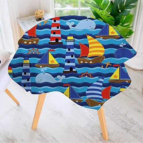 Leighhome Round Tablecloth- Seamless Tileable Nautical Theme