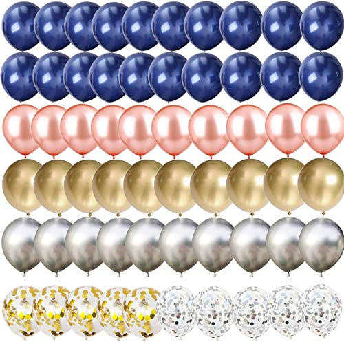 60 pcs Navy Blue and Gold/Silver Confetti Balloons, 12 inch Rose Gold/Silver/Gold Metallic Party Balloons for Graduation Bachelorette Birthday Decorations and Proposal