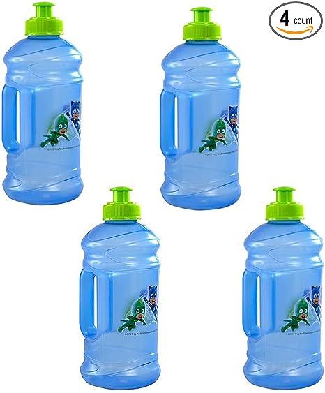 Zak Designs [4-Pack PJ Masks Kids 15.5oz Pull-Top Squirt Sports Water Jug Bottles, BPA-Free