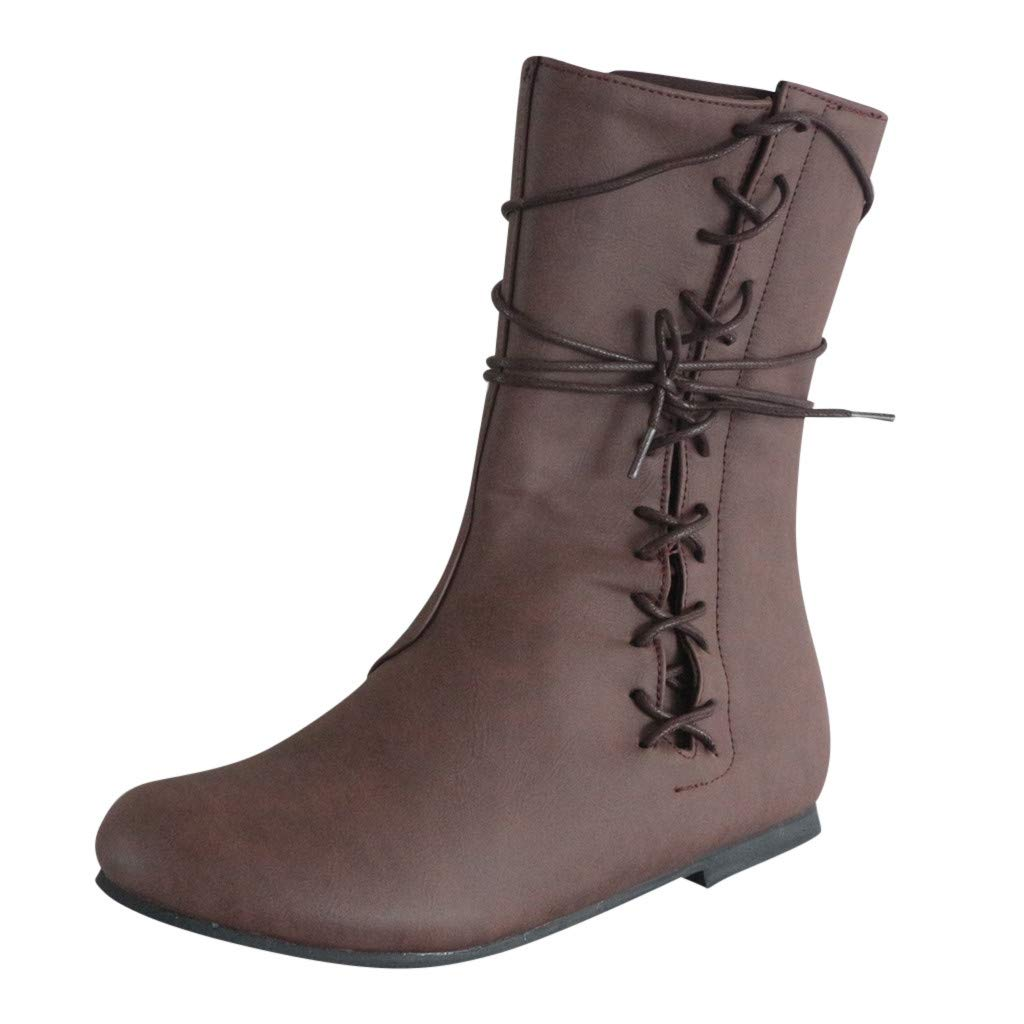 Kauneus Women's Flat Lace up Mid-Calf Short Boot Vintage Leather Classic Combat Boots Winter Fashion Boots Brown