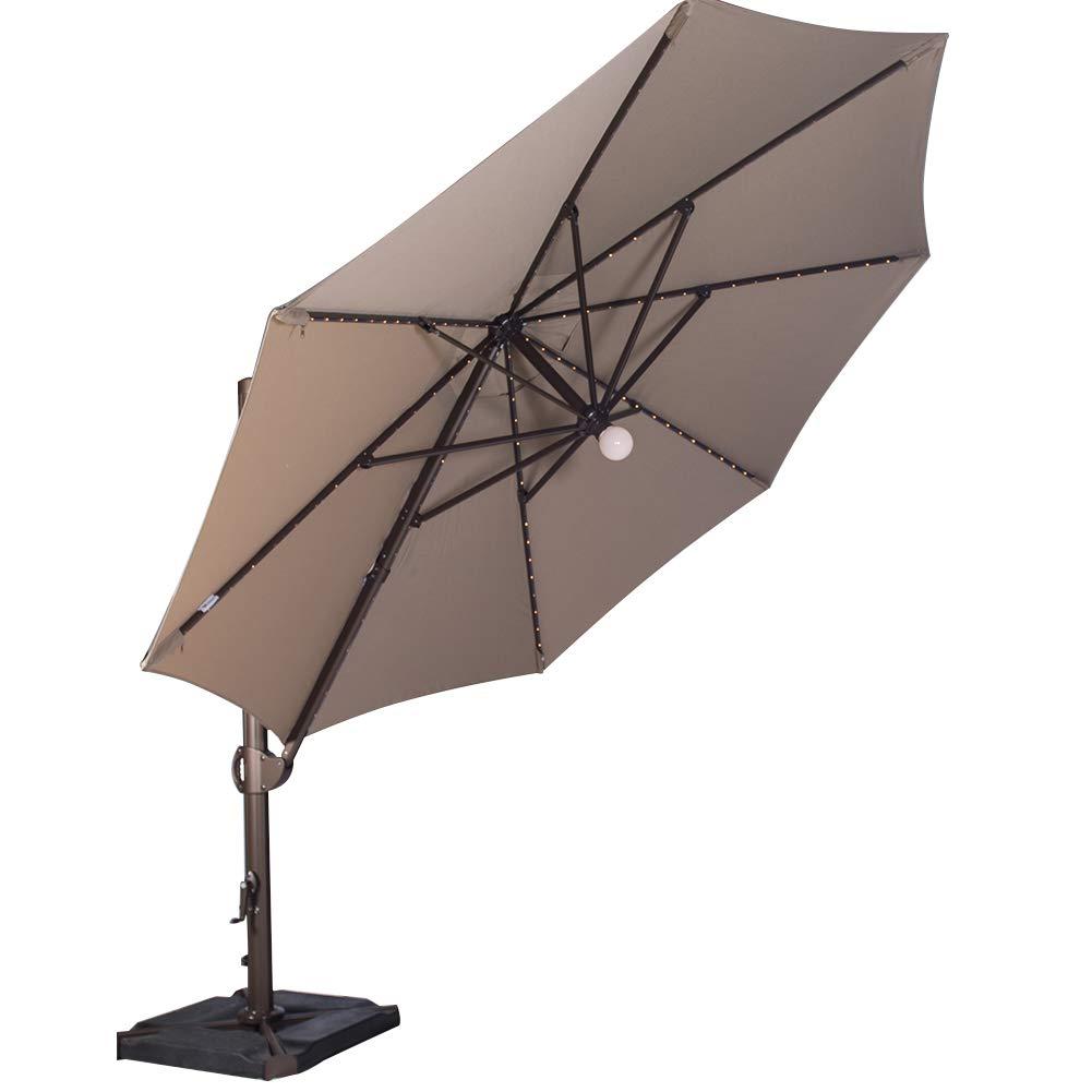 SORARA 11.5 Feet Offset Cantilever Umbrella Round Outdoor Patio Hanging Umbrella with Center Light, Cross Base 4 pcs Base Weight and Umbrella Cover, Heather Beige