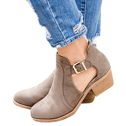 Ofenbuy Womens Cut Out Buckle Ankle Boots Low Chunky Heel Pointed Toe Chelsea (Womens Side Buckle)