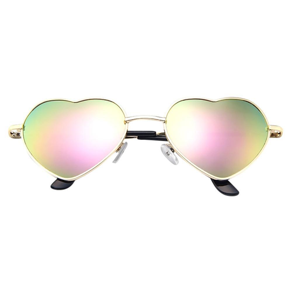 Metal Frame Sunglasses ,Vanvler Mens Womens Heart Shape Sunglasses (F)