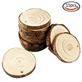 Each piece is made from natural pine, can be used for any artistic creation, making crafts.  15 pieces of wood slice vary from 7-8 cm in diameter. The type and size of the wood may vary depending on different batches.  Wood slices are natural...