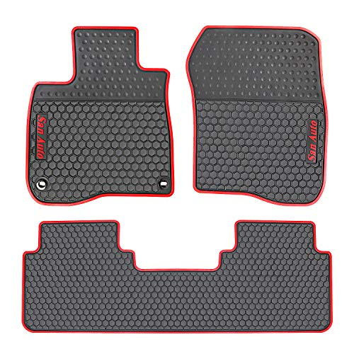 HD-Mart Car Rubber Floor Mat for Honda CR-V 5th Generation 2017-2018-2019 Custom Fit Black Red Auto Liner Mats All Weather, Heavy Duty & Odorless