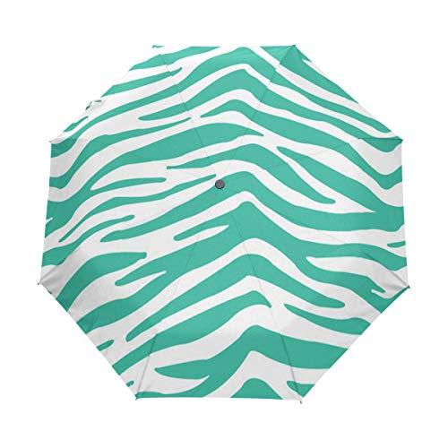 Rain-Love Cool Zebra Green Compact Travel Umbrella,Windproof, Reinforced Canopy,3 Folds Auto Open/Close Anti-UV Umbrella