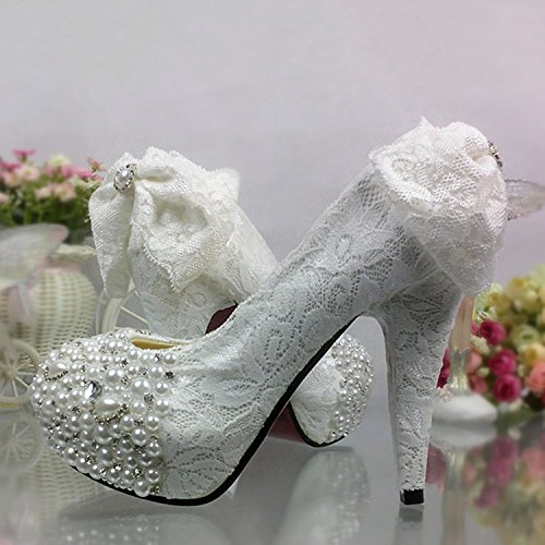 impermeables Bow Diamond Lace Blanco novia Flor Wedding JINGXINSTORE Crystal Pearl High White Zapatos Heeled Shoes OqwEwR5d