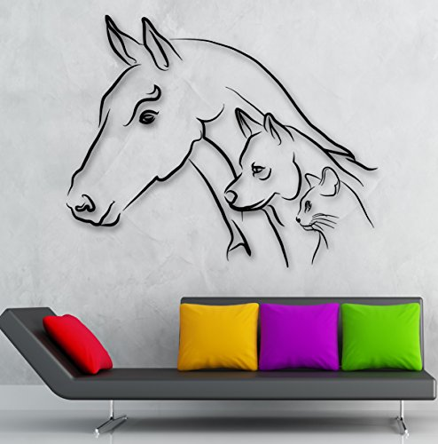 Animal Wall Stickers Horse Dog Cat Kitty Kids Room Nursery Vinyl Decal (ig2402)
