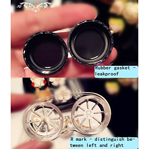 Mini Stylish Simple Contact Lens Hard Case Travel Kit with Mirror Bottle with Tweezers Container Holder-Cute Crown -White and Black with Stick-2 Pack by Oliver (Image #4)