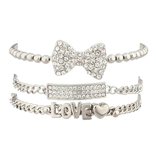 Lux Accessories Pave Love Heart Bow Bar Arm Candy Friendship Bracelet Valentines Set.