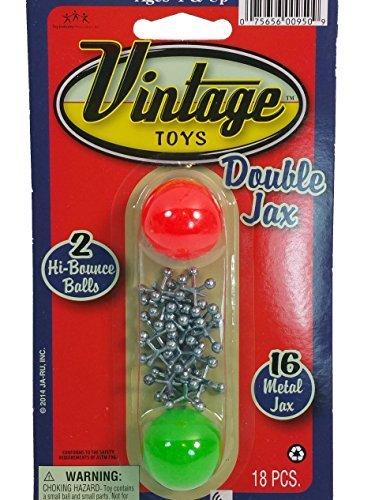Vintage Toys Double Jax Retro 2 Hi-Bounce Balls & 16 Metal Jacks In/Outdoor Toy (Metal Jacks And Ball)