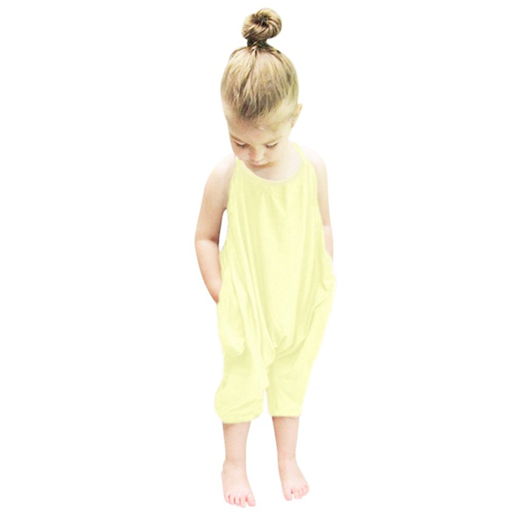 Chinatera Little Girls Kids Halter Romper One-Piece Summer Jumpsuit Cotton Blend