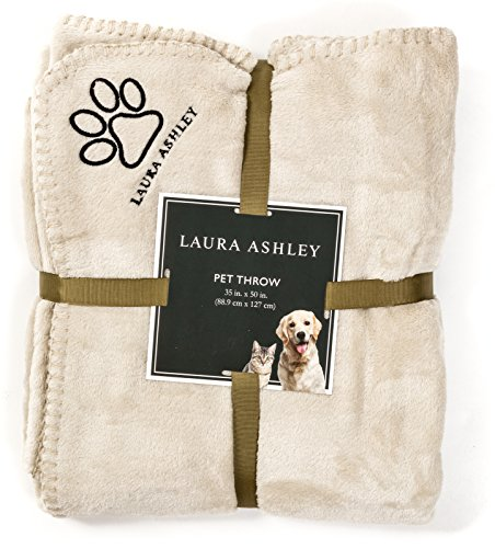 Laura Ashley Reversible Micro Fur Pet Dog Bed Blanket Throw Linen Beige