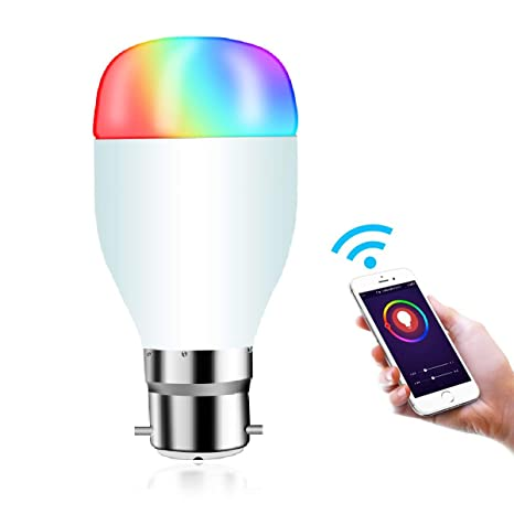 WIFI Smart Bulb, Hedynshine B22 Globe Bulbs 7W Led Light Bulb Compatible  with Alexa Google Home Assistant IFTTT, Smart Control by iOS&Android,No Hub