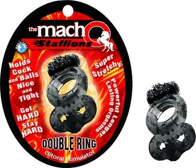 Gift Set Of Macho Double Ring And Fetish Fantasy Series Furry Love Cuffs - Black by Nasstoys