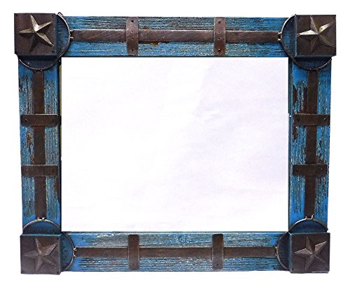 Western Distressed Wooden Mirror w/ Stars & Metal Accents