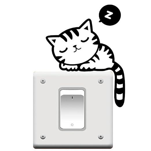 Cambiar la siesta del gato lindo luz Funny Pet Tatuajes de pared ...
