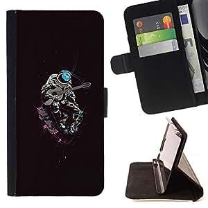 Momo Phone Case / Flip Funda de Cuero Case Cover - Psychedelic Espacio Astronauta Guitarra;;;;;;;; - Apple Iphone 4 / 4S