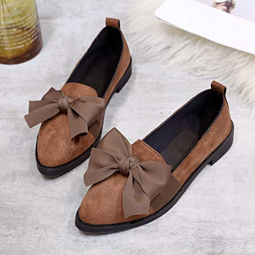 On Slip Covered Single Shoe Bow Flock Flat Punta Office Soft Donna Quadrato Slim Brown Shallow Ladies Scarpe A Shoes commerce Tacco Jobs B 8zwqgg