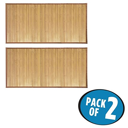 51N%2BekD9QuL - mDesign Water-Resistant Bamboo Floor Mat for Bathroom - Pack of 2, Large, Natural