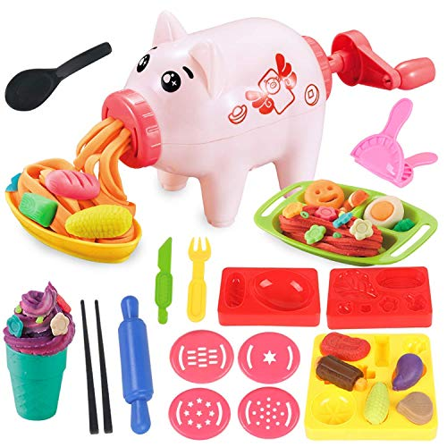 Pony Toy,Playdough Toys for Toddler,Play Dough Tools 18 Items,Clay Kitchen Playsets,Upgrade Version of Children's Spree,Cartoon Shape Pig Pasta Mania Set