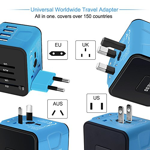 Universal Travel Adapter, International Power Adapter with 4 USB,European Adapter for UK,US,AU,India 150+ Countries,All in One Travel Plug Adapter for iPhone, Android,All USB Devices by HUANUO (Image #1)