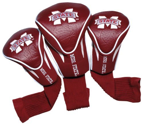 Team Golf NCAA Mississippi State Bulldogs Contour Golf Club Headcovers (3 Count), Numbered 1, 3, & X, Fits Oversized Drivers, Utility, Rescue & Fairway Clubs, Velour lined for Extra Club Protection