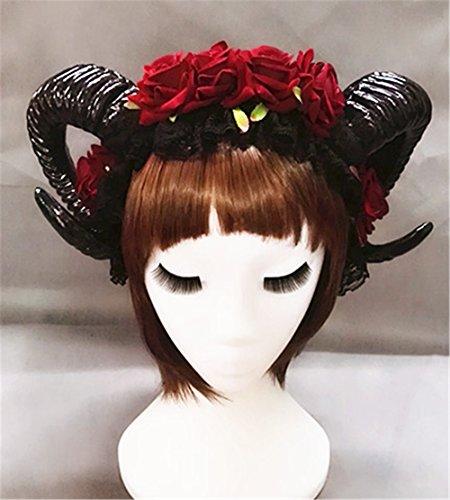 Restyle Sheep Horn Rose Flower Headband Gothic Beauty Horror Horns Halloween Black Veil Lace Retro Hair Accessories Vintage