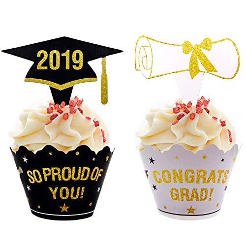Aozer Graduation Cupcake Toppers Wrappers Graduation Party Supplies 2019 Grad Party Cupcake Decorations
