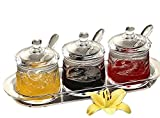 FOLOBE Premium Quality Clear Acrylic condiment set spice box with spoon seasoning salt pepper spice cans kitchen accessories 12x3.94x4.96inches