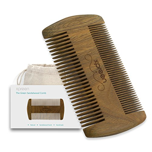 Xpreen Wood Comb, Double Different Densities Brush, Anti-static Handmade Green Sandal Wood Beard Hair Mustache Comb