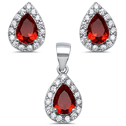 Oxford Diamond Co Sterling Silver Pear Shape Simulated Ruby & Cubic Zirconia Earring & Pendant Set