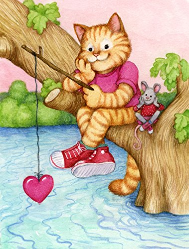 Caroline's Treasures CDCO0320GF Valentine Cat Fishing for Love Garden Flag, Small, Multicolor