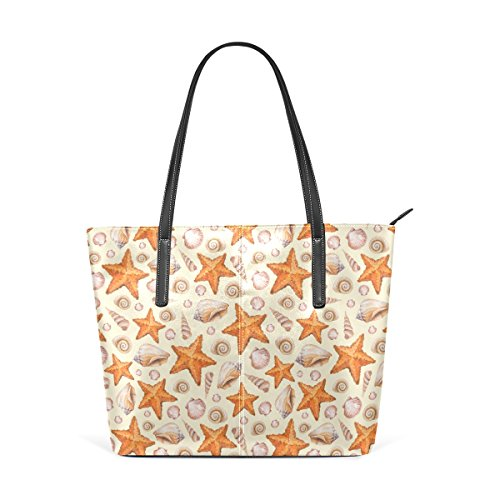 COOSUN Modelo artístico de la acuarela con conchas y estrellas de mar cuero de la PU del hombro del monedero del bolso y bolsos de la bolsa de asas para las mujeres Medio multicolor