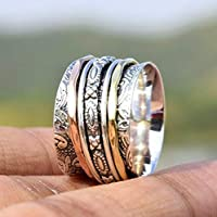 Floral Textured Anxiety Ring for Meditaion, 925 Sterling Silver Spinner Three Tone Band Rings for Women, Gift Ring for Christmas