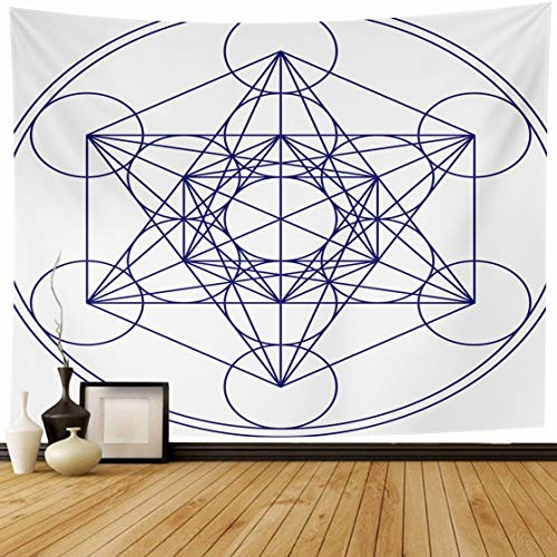 Ahawoso Tapestry Wall Hanging 60x50 Energy Sacred Metatrons Cube Flower Life Abstract Matrix Geometry Mystic Pentagram Spiritual Chakra Home Decor Tapestries Decorative Bedroom Living Room Dorm