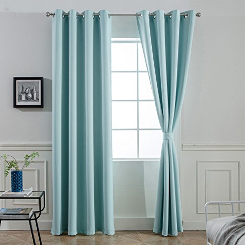 Yakamok Room Darkening Thermal Insulated Blackout Curtains for Living Room,Aqua Color,52 inch Wide by 96 inch Long Each Panel,Bonus 2 Tie Backs Included ()