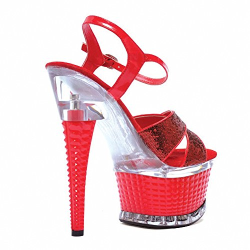Ellie 649-DISCO Womens Sexy Comfortable 6 CROSSED STRAP TEXTURED PLATFORM Red Glitter sw6gKH