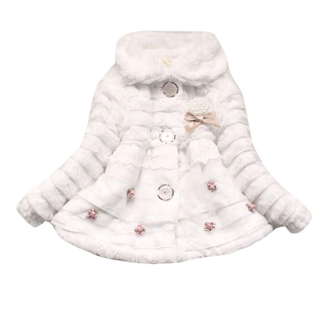 TiTCool Baby Infant Girls Autumn Winter Pearly Coat Cloak Jacket Thick Warm Clothes (5T, White)