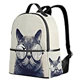 THUNANA Cool Cat With Sunglasses Pattern Travel Lightweight Zipper Bag School Student Backpack For Women Men Kids