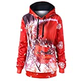 New!Womens Hoodie Sweatshirt Christmas Long Sleeve BCDshop Ladies Novetly Print Shirt(Red,M)