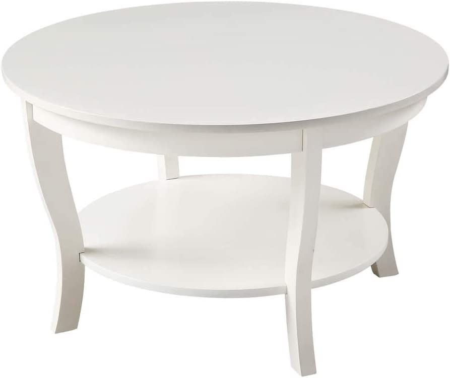Convenience Concepts American Heritage Round Coffee Table, White