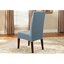 Stretch Pinstripe Short Dining Room, French Blue