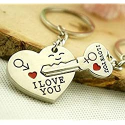 "Liroyal Couple Keychain Keyring --- ""I Love You"" Heart + Key --- Lover Sweetheart Gift for Valentine's Day / Wedding Anniversary / Birthda(1 pair) (SILVER, 1) (style1, 1)"