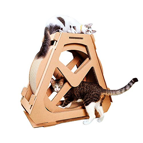 Lina DIY Ferris Wheel Model cat Treadmill, Corrugated cat Climbing Frame, Roller Sport pet Supplies, Available in Two Sizes (Size : S)