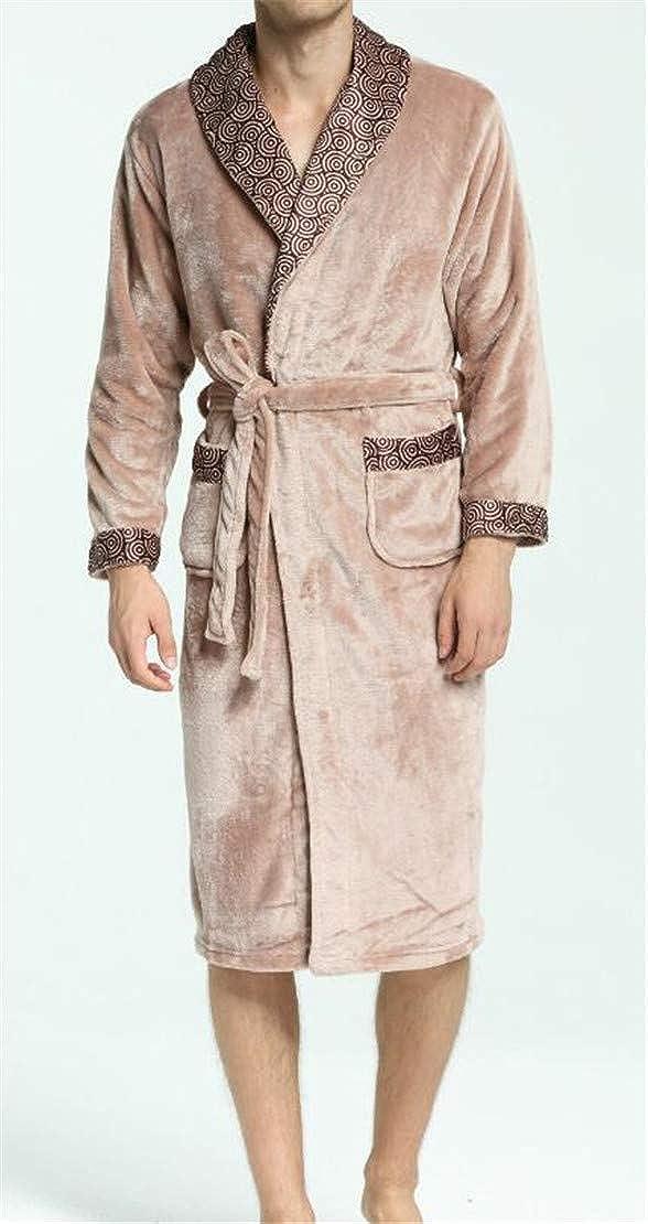 Zantt Men Kimono Flannel Nightwear Fashion Shawl Collar Spa Nightgown Bathrobe