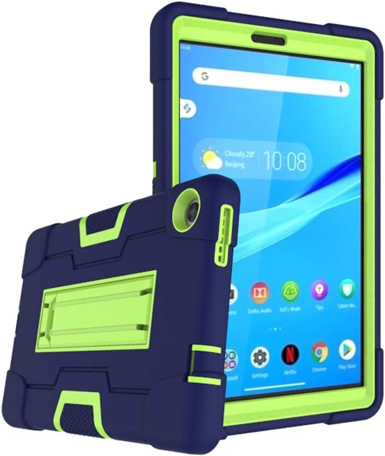 Cherrry for Lenovo Tab M8 8.0 Inch Case,Hybrid Three Layer Full-Body Shockproof Armor Defender Full-Body Rugged Protective Case Cover with Stand for Lenovo Tab M8/M8 Smart Tab 8.0 Tablet (Navy/Green)