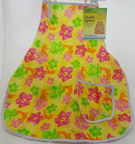 I Play Toddler Chef Apron Yellow with Hibiscus (I Play Toddler Bib)